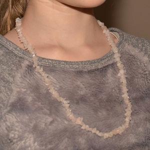 vintage pink quartz gemstone long necklace euc